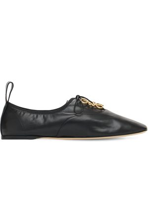 Loewe Women Loafers - 10mm Soft Derby Leather Lace-up Shoes