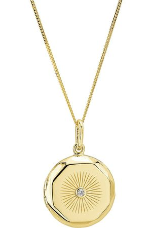 The Love Silver Collection 925 Gold Plated 20Mm Round Faceted Cubic Zirconia Locket Pendant