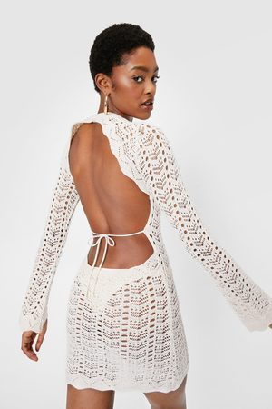 NASTY GAL Womens Crochet Knitted Open Back Mini Dress - - 4