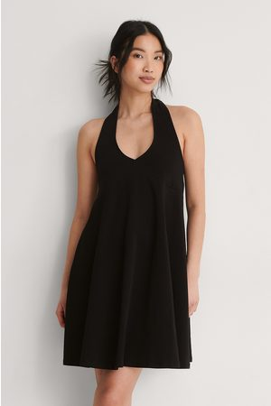 NA-KD Organic Halterneck Jersey Dress - Black