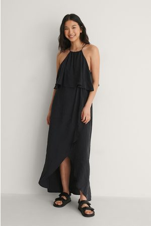 NA-KD Halterneck Overlap Skirt Dress - Black