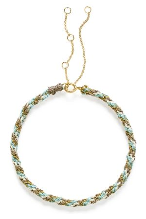 The Alkemistry 18ct Gold Kumachi Bracelet With Grey Blue And White Silk Cord