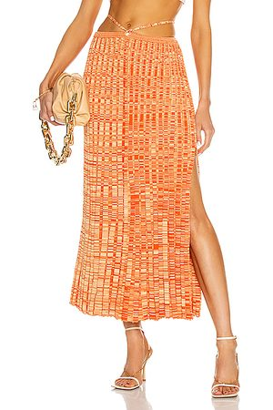 CHRISTOPHER ESBER Pleated Knit Tie Skirt in Tangerine Marle