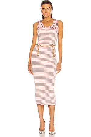 Alessandra Rich Striped Knitted Sleeveless Dress in &