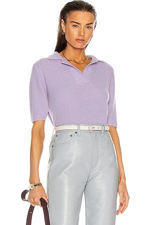 THE ELDER STATESMAN Medium Rib Polo Shirt in Lavender