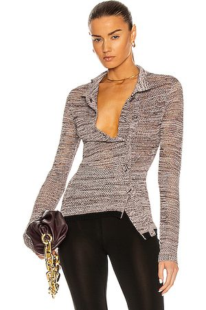 CHRISTOPHER ESBER Double Button Mesh Cardigan in Mahogany Marle