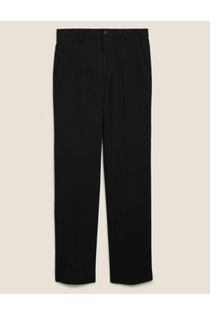 Marks & Spencer Mens Tailored Fit Flat Front Stretch Trousers - 34SHT - , ,Navy,Charcoal
