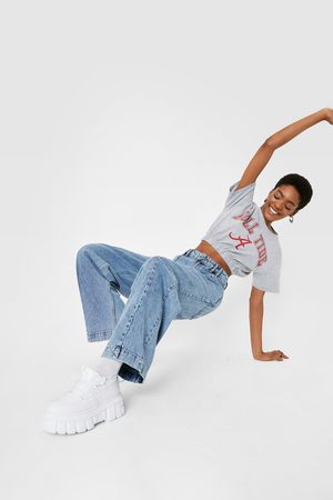 NASTY GAL Womens High Waisted Seam Detail Wide Leg Jeans - - 4