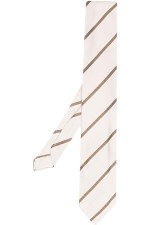 LARDINI Stripe-pattern silk tie - Neutrals