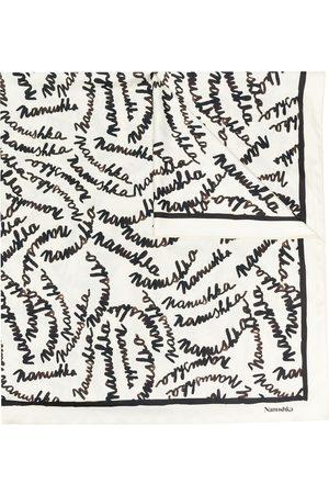 Nanushka Miani handwritten-logo scarf - Neutrals