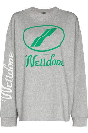 We11 Done Women Sweatshirts - Oversized-logo crew-neck sweatshirt
