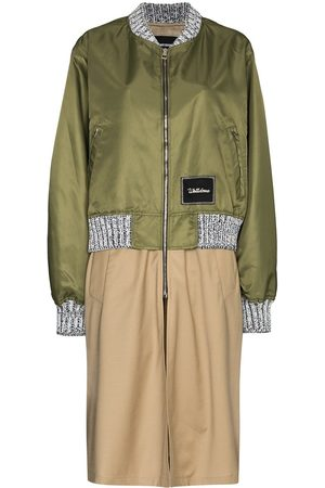 We11 Done Logo-patch layered trench coat