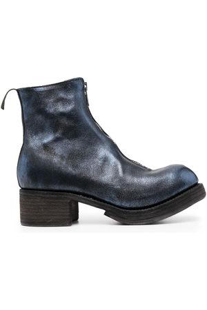 GUIDI Metallic-sheen leather boots