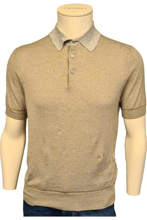 CANALI Men Polo Shirts - Biscuit Knitted Polo Shirt with Contrast Collar C0780 MK01140/700