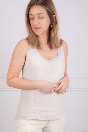 Crossley Women Singlets - Leni Linen Vest in Pale