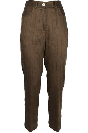 MOMONÍ Women Trousers - MOMON WOMEN'S COTOGNO27BROWN LINEN PANTS