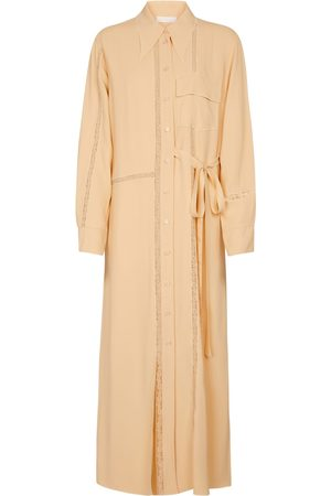 Chloé Lace-trimmed crêpe maxi dress