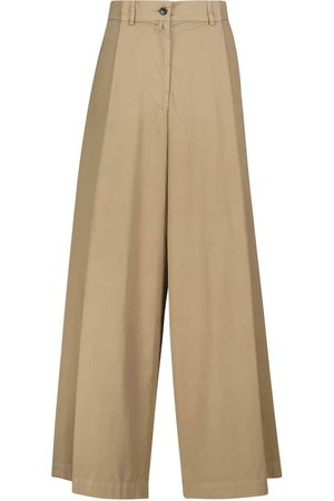DRIES VAN NOTEN High-rise wide cotton-poplin pants
