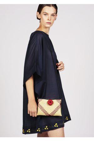 MARAINA LONDON SOLENE woven straw cross-body clutch bag - Natural and