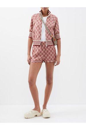 Gucci GG-logo High-rise Silk Shorts - Womens - Print