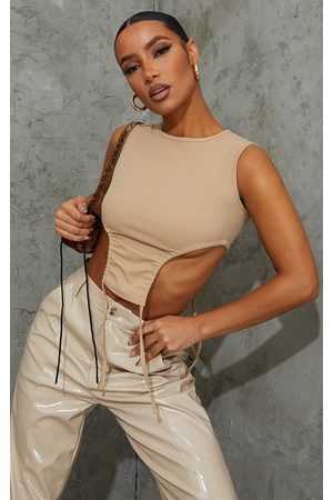 PRETTYLITTLETHING Stone Crepe Racer Neck Side Ruched Crop Top