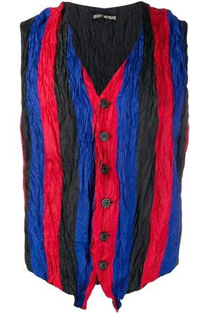 Issey Miyake 1990s creased striped waistcoat