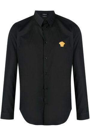 VERSACE Logo-embroidered cotton shirt