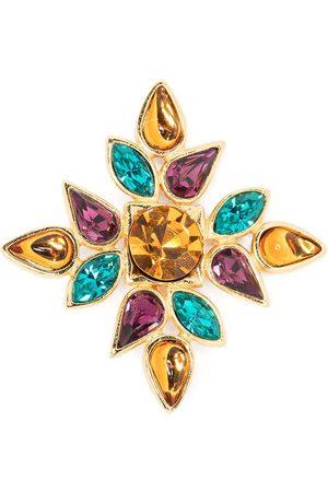 Yves Saint Laurent 1990s crystal-embellished flower motif brooch