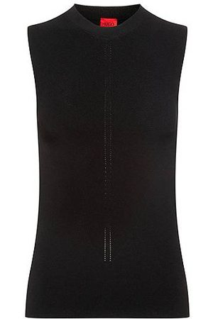 HUGO BOSS Slim-fit sleeveless top in knitted stretch fabric