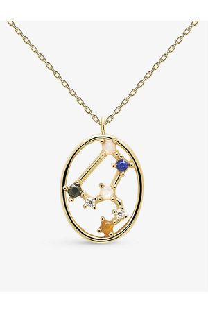 PD Paola Zodiac Leo 18ct -plated sterling silver and gemstone necklace
