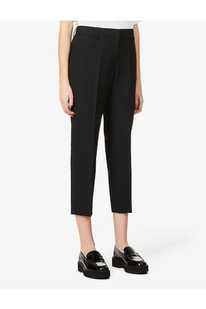 THEORY Treeca cropped slim-leg mid-rise stretch-wool trousers