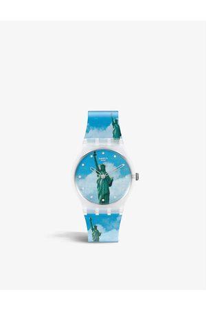 Swatch GZ351 New York by Tadanori Yokoo shell and silicone quartz watch