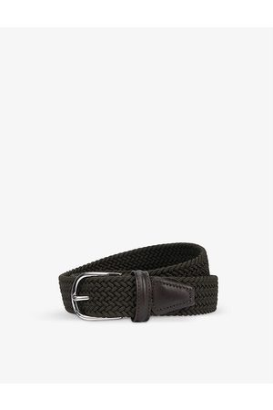 Anderson's Woven stretch-elastic and leather belt