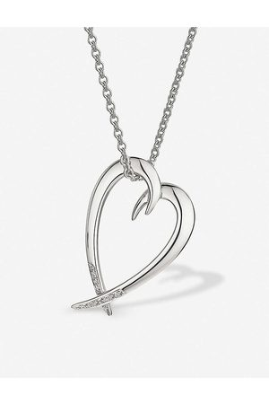 SHAUN LEANE Heart sterling silver and diamond necklace