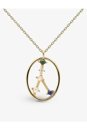 PD Paola Zodiac Cancer 18ct -plated sterling silver and gemstone necklace