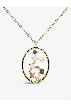 PD Paola Zodiac Virgo 18ct -plated sterling silver and gemstone necklace