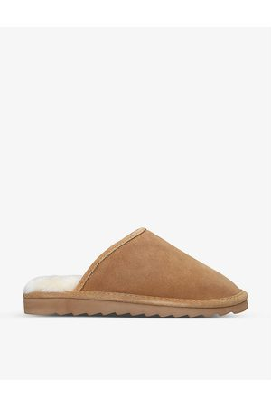 Kurt Geiger Cosy Stitch shearling-lined suede slippers