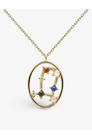 PD Paola Zodiac Gemini 18ct -plated sterling silver and gemstone necklace