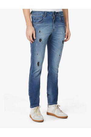 NO.91 Slit Slim ripped regular-fit jeans