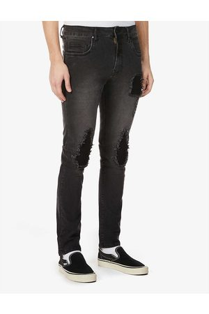 NO.91 Busted Biker ripped slim-fit jeans