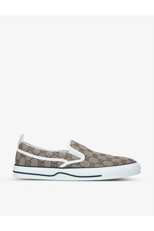 Gucci Men's Tennis 1977 monogrammed canvas slip-on trainers