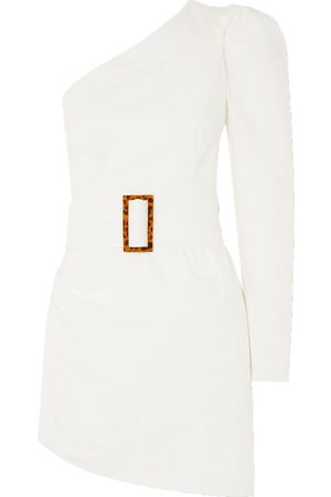 De La Vali Women Asymmetrical Dresses - Woman One-sleeve Belted Asymmetric Stretch-cotton Poplin Mini Dress Size 12