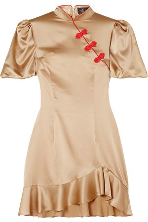De La Vali Woman Bluebell Appliquéd Ruffled Satin-twill Mini Dress Size 10