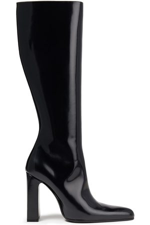 Balenciaga Women High Leg Boots - Woman Glossed-leather Knee Boots Size 37