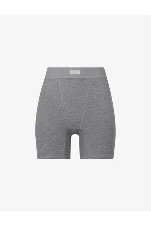 SKIMS Sleep ribbed high-rise stretch-woven boxers