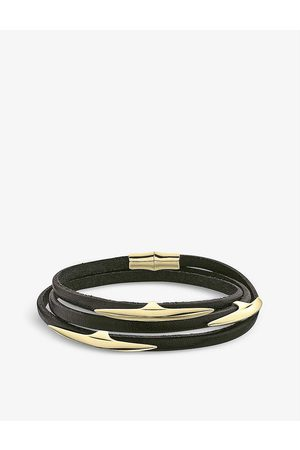 SHAUN LEANE Arc -plated vermeil and leather bracelet