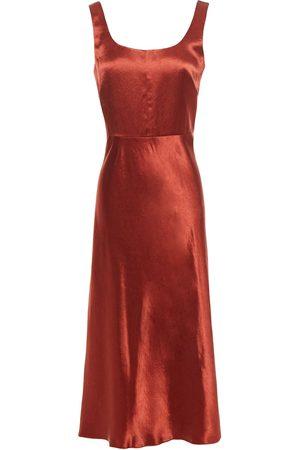 Vince Women Midi Dresses - Woman Crinkled Satin Midi Dress Brick Size 0