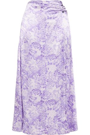 Ganni Woman Ruched Floral-print Satin Midi Skirt Lavender Size 32
