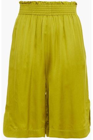 Rodebjer Women Shorts - Woman Kali Shirred Satin Shorts Lime Size L