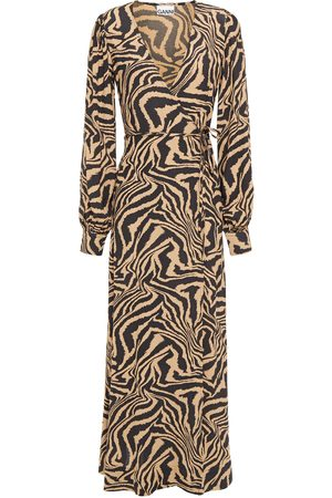 Ganni Women Printed Dresses - Woman Printed Crepe Maxi Wrap Dress Animal Print Size 32